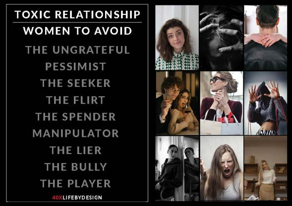 toxic relationship and the types of women to avoid